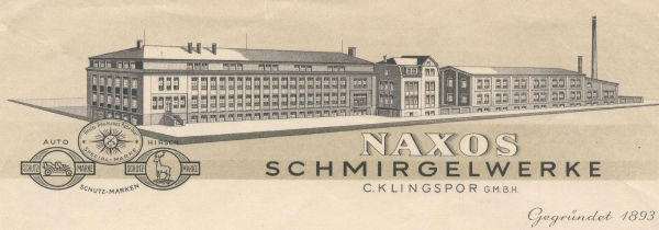 Black and white drawing of Klingspor glue factory. Text says Naxos Schmirgelwerke C. Klingspor G.M.B.H. Signature is Gegrundel 1893.