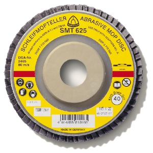 flat photo of early abrasive mop disc. The type is SMT 625. It has a yellow, ring-shaped label with a somewhat small, horizontal red stripe. Made in Germany.