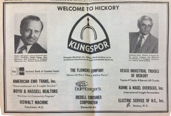 black and white newspaper scan. Header: Welcome to Hickory. 