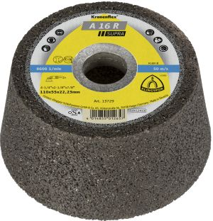 Picture of a grinding wheel. It looks like a cone that was cut in half horizontally, with a sizable whole in the center. 