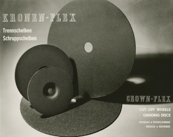 black and white photo of 3 abrasive discs of different sizes. The 3 discs are standing on top of another big disc. Text says Kronen-Flex, Crown-Flex, cut-off wheels grinding discs