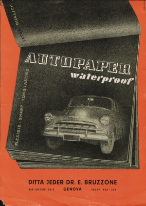 Retro poster advertising waterproof abrasives. Features a stack of black paper or magazines on a red background, and a car. Text says Autopaper waterproof. Flexible, sharp, long lasting. Ditta Jeder Dr. E. Bruzzone vis Luccoli 22-2. Genova. Telef. 360-220